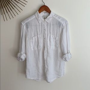 Joie Lidelle Smocked-Detail Button-Down Shirt